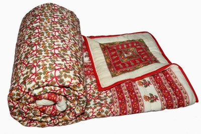 Buy Clues Floral Double Quilts & Comforters Red