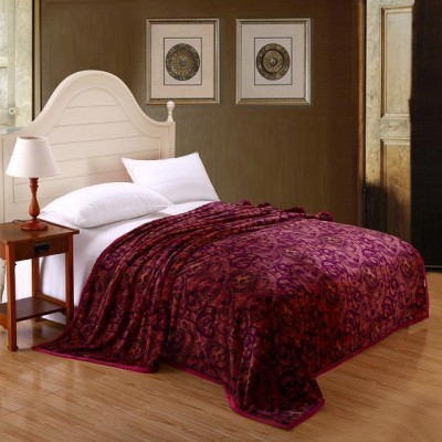 Wrap Floral Double Blanket Maroon