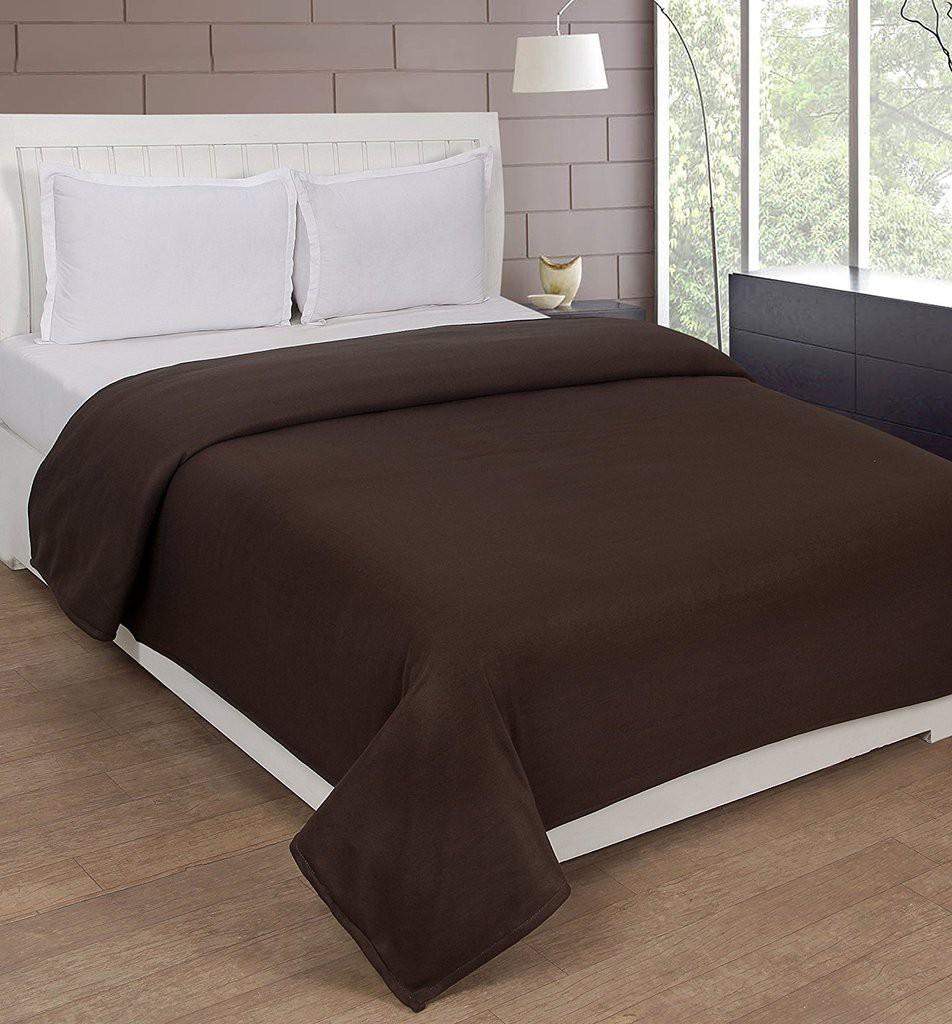 Super India Plain Double Blanket Brown(Fleece Blanket, Blanket)