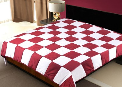 Zikrak Exim Checkered Double Blanket Maroon, White