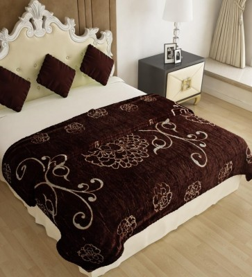 Home Candy Floral Double Blanket Brown