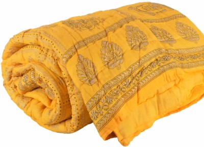 DFR Floral Single Quilts & Comforters Yellow