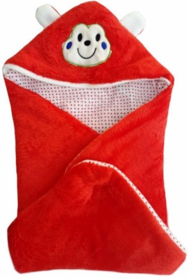 Brandonn Abstract Single Hooded Baby Blanket Red