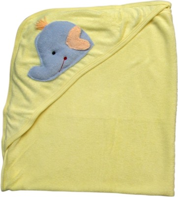 Offspring Embroidered, Plain Single Hooded Baby Blanket Yellow