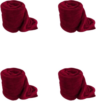 Satviham Plain Single Blanket Red