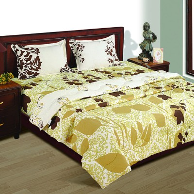 House This Floral Double Quilts & Comforters Brown