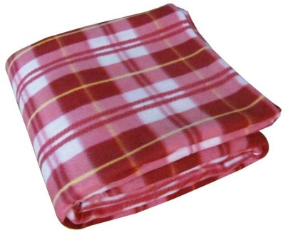 Shiv Fabs Checkered Double Blanket Pink