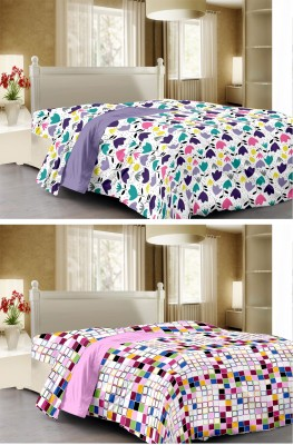 Story @ Home Floral, Checkered Single Dohar Multicolor