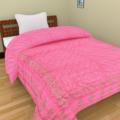 Shra Embroidered Single Quilts & Comforters Pink