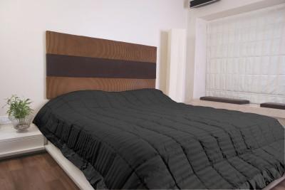 KIAANA USA Striped Double Quilts & Comforters Black