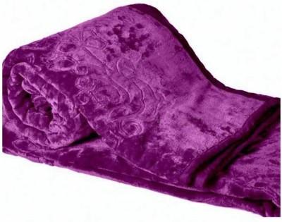 AmazingHind Self Design Double Blanket Purple