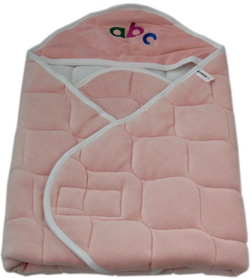 Quick Dry Checkered Single Hooded Baby Blanket Pink