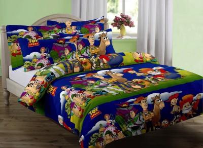 eCraftIndia Cartoon Single Blanket Blue, Green