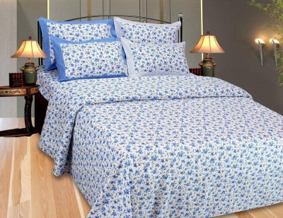 The Intellect Bazaar Floral Single Top Sheet Blue