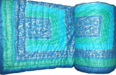 Marwal Checkered Double Quilts & Comforters Blue