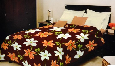 Bombay Dyeing Floral Double Blanket Brown