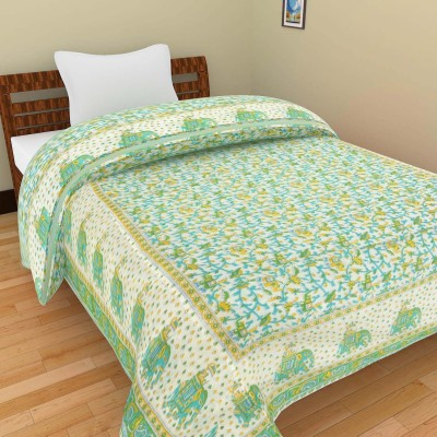 Shra Floral Single Quilts & Comforters Green, Yellow, White