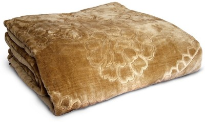 Little India Plain Double Blanket Brown