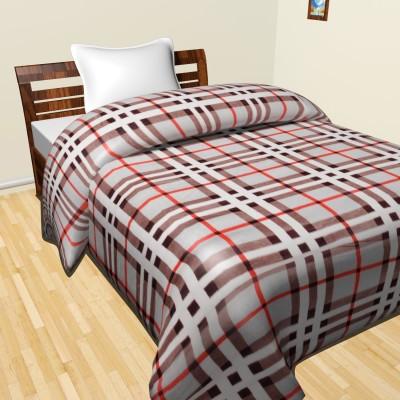 Krishnam Checkered Double Duvet Brown