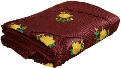Ndecor Floral Double Quilts & Comforters Maroon