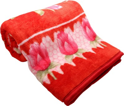 Ndecor Floral King Blanket Multicolor, Red