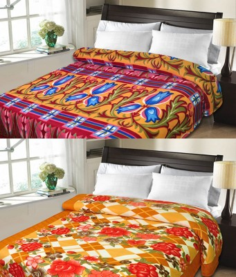 Candy House Checkered Double Blanket Orange
