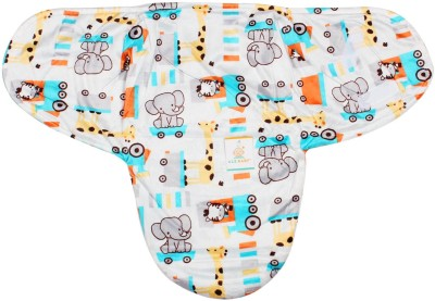 Ole Baby Elephant Kitty Girafe print Comfortable Swaddle Blanket, Adjustable Infant Wrap With Velcro Closure , Soft Furry in Blue,White and Orange.0-9 months Sleeping Bag
