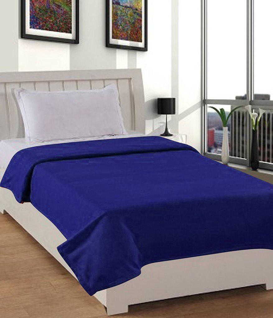 Super India Plain Single Blanket Blue(Fleece Blanket, Blanket)