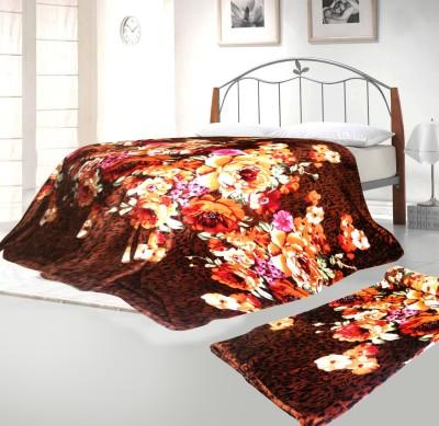 Aapno Rajasthan Floral Single Blanket Brown