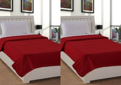 Shopgalore Plain Single Blanket Red