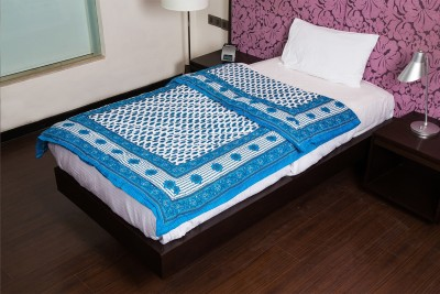 JaipurFabric Floral Single Quilts & Comforters Cyan