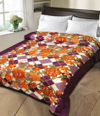 Rangoli Floral Double Blanket Purple