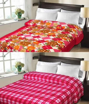 Candy House Checkered Double Blanket Pink