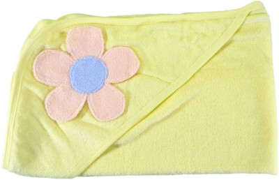 Babysid Collections Floral Single Swadding Baby Blanket, Hooded Baby Blanket Yellow