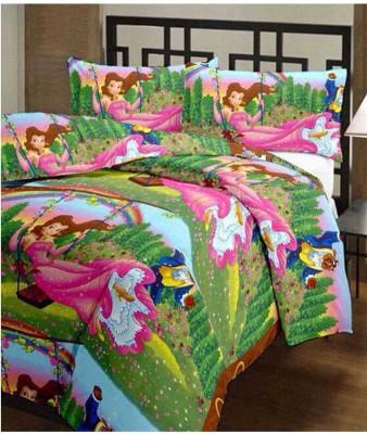 eCraftIndia Cartoon Single Blanket Green, Pink
