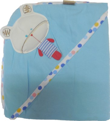 Bornbabykids Plain Single Hooded Baby Blanket Blue