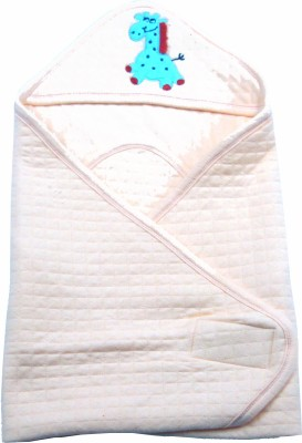Ahad Plain Single Hooded Baby Blanket Peach