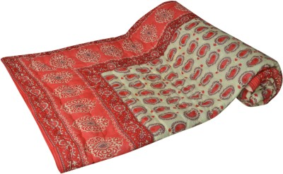 Raj Amer Craft Floral Single Quilts & Comforters Red