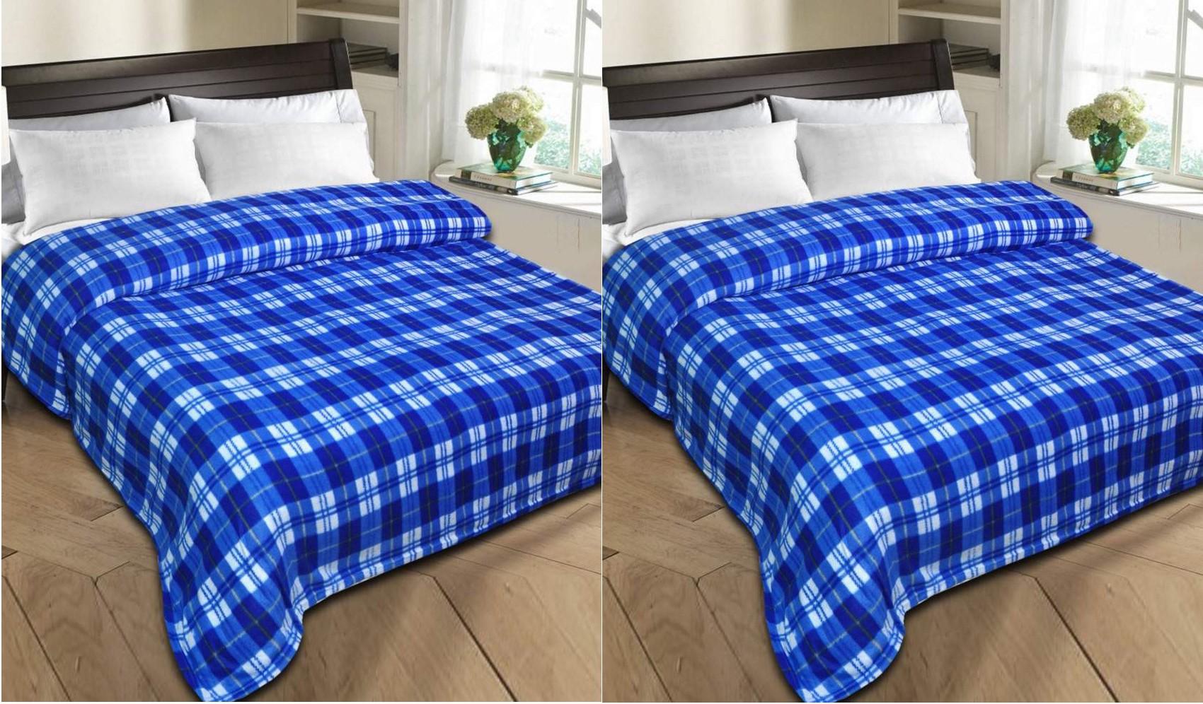 Styletex Checkered Single Blanket Blue(Fleece Blanket, 2 Blue Blankets)
