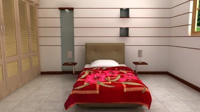 HW Floral Single Blanket Red