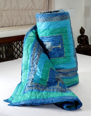 Jodhaa Abstract Double Quilts & Comforters Blue, Green
