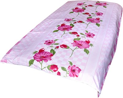Animated&Florals Floral, Checkered, Geometric Single Dohar Pink, White
