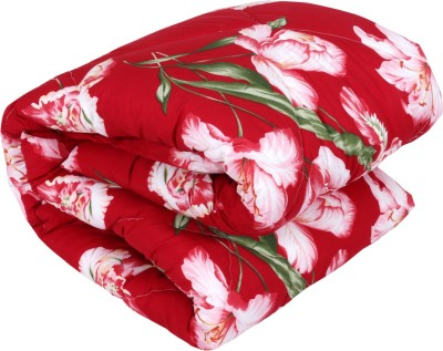 IndiWeaves Floral Single Quilts & Comforters Red