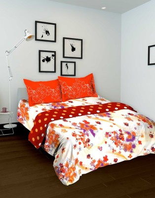 Tomatillo Floral Single Quilts & Comforters Orange, White