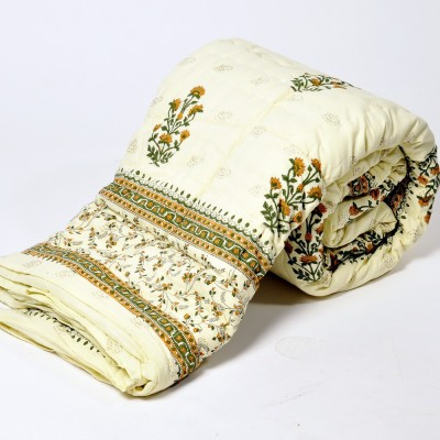 Jaipur Raga Floral Single Quilts & Comforters White