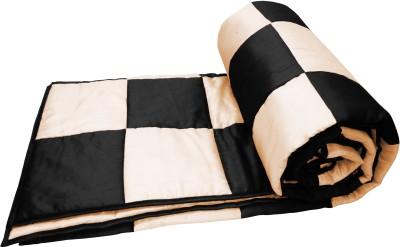 Zikrak Exim Checkered Queen Quilts & Comforters Black, Beige