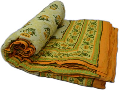 RSimpex Floral Double Quilts & Comforters Yellow, Green
