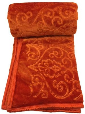 Fab Ferns Plain Single Blanket Orange(Mink Blanket, Blanket) at flipkart