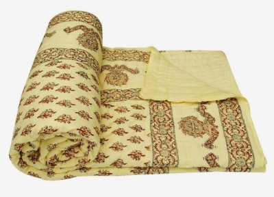 Buy Clues Floral Double Quilts & Comforters Yellow