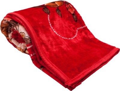 Feel Soft Floral Double Blanket Red, Brown, Yellow